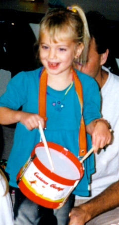 Amber age 3 with drums