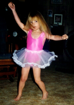 Karissa age 3 dancing in her ballerina outfit